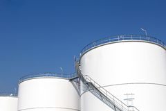 White storage tanks Royalty Free Stock Photo