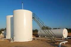 White Storage Tanks Stock Photo