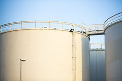 White storage tanks Stock Photos