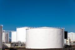 White storage tanks Royalty Free Stock Images