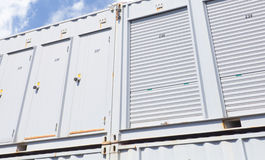 White storage unit or small warehouse for rental Royalty Free Stock Photography