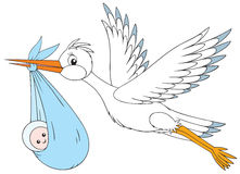 White stork delivers a newborn to his parents. A  clip-art of a flying stork that delivers a newborn to his parents Stock Photo