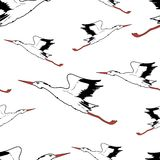 White Stork in flight seamless wallpaper. Vector illustration Stock Photos