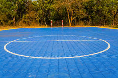 White Straight , circle line and red football goal on Futsal field. On natural light Stock Photo