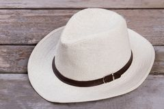 White straw hat close up. stock photography