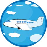 Plane is flying among the clouds. Vector stock illustration