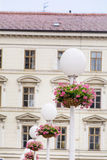 White Street Lamps with hanging  Baskets with pink geraniums Royalty Free Stock Photo