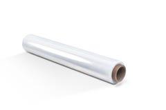White stretch film. White  stretch film roll at white background Royalty Free Stock Photo