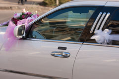 White stretch limousine. For wedding Royalty Free Stock Photography