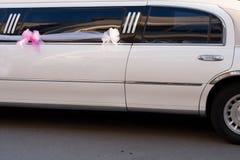 White stretch limousine. For wedding Royalty Free Stock Photo