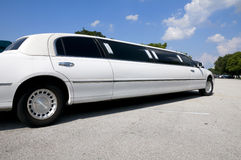 White stretch limousine Royalty Free Stock Image
