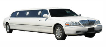 White stretched limousine Royalty Free Stock Photography