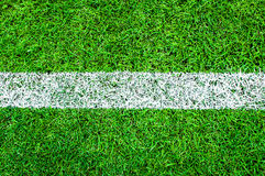 White stripe on the green soccer field Royalty Free Stock Photography