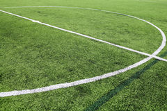 White stripe on the green soccer field Royalty Free Stock Photo