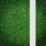 White stripe on the green soccer field Stock Photography