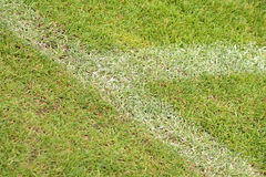White stripe on the green soccer field from top view Royalty Free Stock Photos