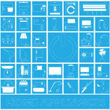 White stripe home appliances in blue square Royalty Free Stock Image