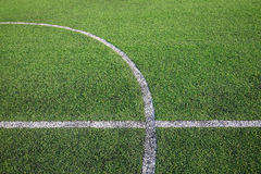 White stripe line on the green grass field Royalty Free Stock Image