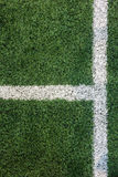 White Stripe Line with Corner Point on The Green Soccer Field from Top View used as Template Stock Photography