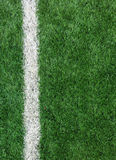 White Stripe Line on The Green Soccer Field from Top View used as Template. White Stripe Line on The Green Soccer Field from Top View Stock Photos