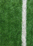 White Stripe Line on The Green Soccer Field from Top View used as Template Stock Photos