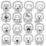 White stripe pattern line cartoon character Royalty Free Stock Photography