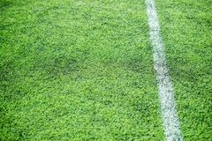 White stripe on soccer field Royalty Free Stock Photography