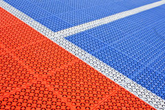 White stripe on the soccer field rubber flooring Royalty Free Stock Photography