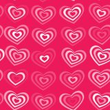 White striped heart on pink background Valentine's day, wedding seamless pattern. vector Royalty Free Stock Image