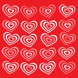White striped heart on red background Valentines Royalty Free Stock Images
