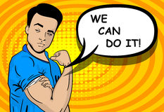 White strong man WE CAN DO IT. White young strong pop art man, boy. Advertise WE CAN DO IT power. Vector illustration halftone background. Cartoon comic book Stock Image