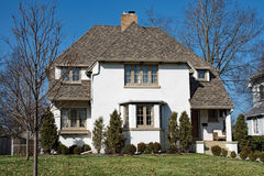 White Stucco Home with Hip Roof Royalty Free Stock Images