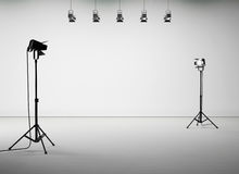 White studio room with equipment, no body. 3d Royalty Free Stock Images