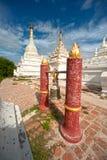 White stupa near Maha Aung Mye Bon Zan Monastery. Stock Image