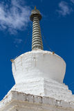 White stupa in Tiksey monastery. Ladakh, India. Royalty Free Stock Photos