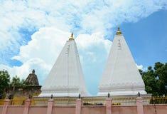 White stupas at Buddhist temple in Bodhgaya, India Royalty Free Stock Photos
