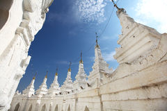 White stupas of Hsinbyume pagoda in Mandalay, Myan Stock Photo
