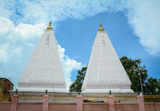 White stupas at the temple in Agra, India Stock Images