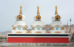 White stupas at Thikse temple in Ladakh, India Royalty Free Stock Images