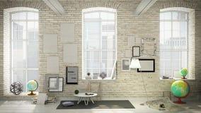 White style interior 3d render vector illustration