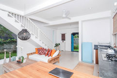 White style Villa Interior and living room Stock Photography