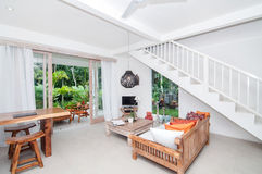 White style Villa Interior and living room Royalty Free Stock Images