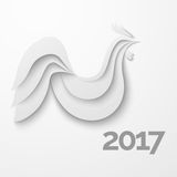 White stylized paper rooster with shadow Stock Photography