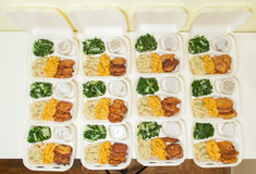 White styrofoam lunch boxes Stock Photo