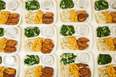 White styrofoam lunch boxes Royalty Free Stock Images