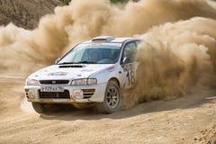White Subaru Impreza at rally Royalty Free Stock Photo
