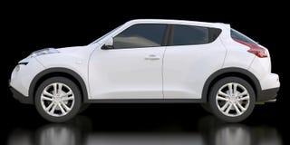 White subcompact crossover SUV on black background. 3d rendering. White subcompact crossover SUV on black background. 3d rendering Royalty Free Illustration