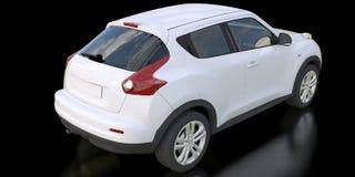 White subcompact crossover SUV on black background. 3d rendering. White subcompact crossover SUV on black background. 3d rendering Vector Illustration