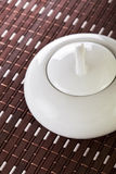 White Sugar Bowl on Placemat Royalty Free Stock Photography