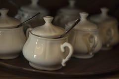 White sugar-bowls. Retro object for kitchen. stock photo